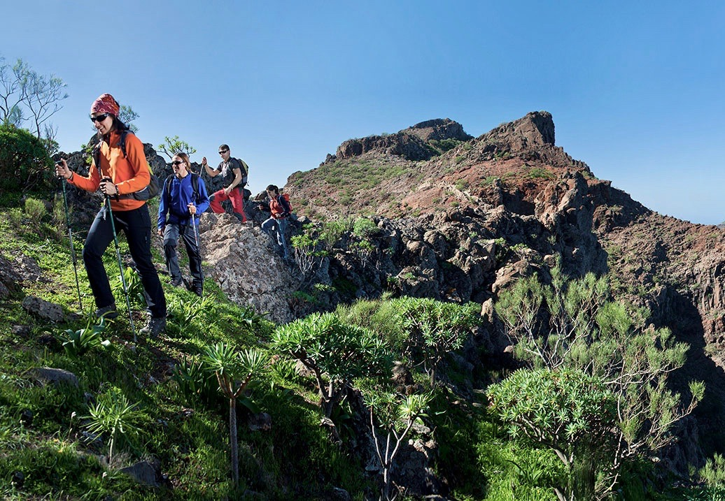 Los entusiastas de las actividades al aire libre que caminan por el exuberante terreno del Anaga
