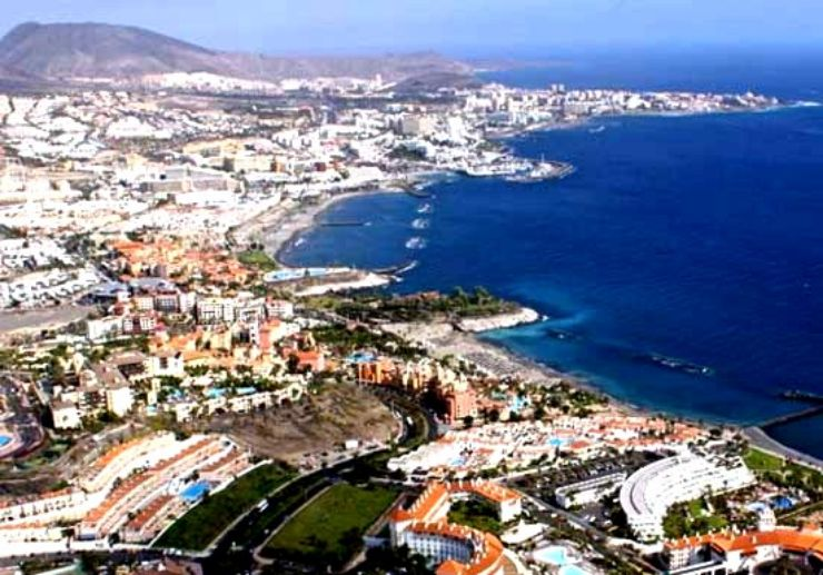Aerial view of Tenerife resorts on a helicopter tour
