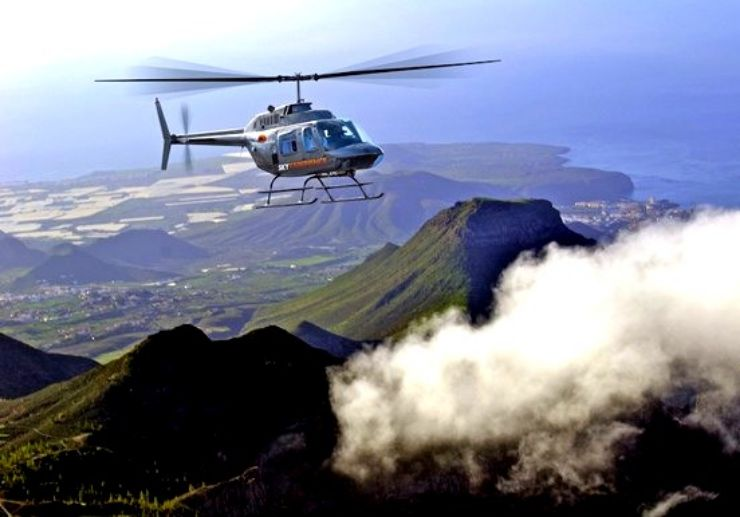 Aerial landscape view of Tenerife helicopter tour