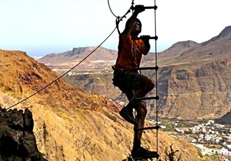 Ferrata climbing ladder in Gran Canaria