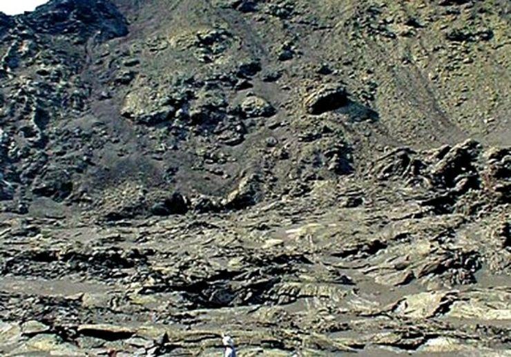 Hiking  in Lanzarote volcanic moon landscape
