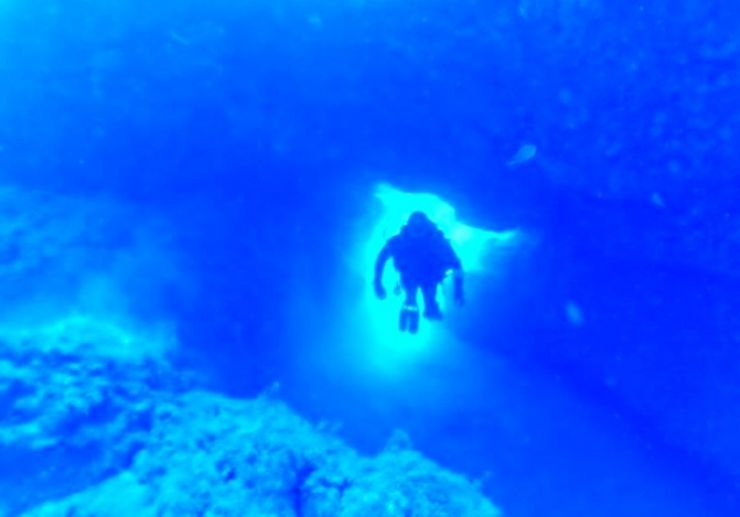 Dive through volcanic formation Lanzarote