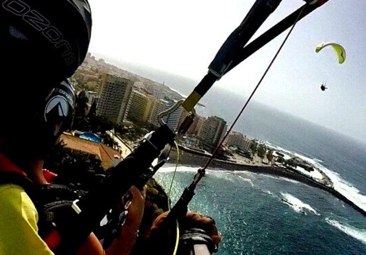 Paraglide over Puerto de la Cruz beach