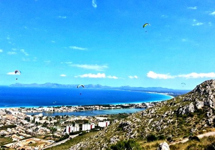 Paragliding over Mallorca landscapes and coast