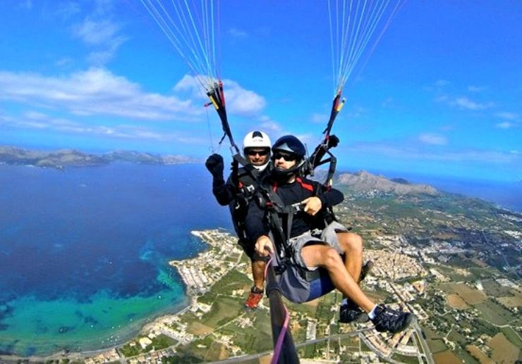 Tandem paraglide over Mallorca landscape