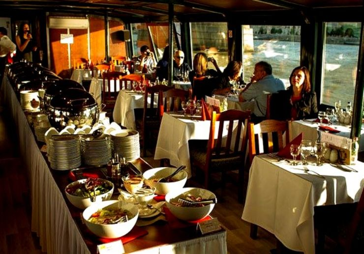 Dinner buffet while cruising on the Danube