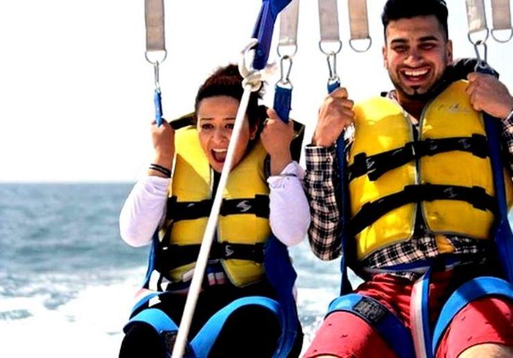 Thrilling parascending ride Lanzarote