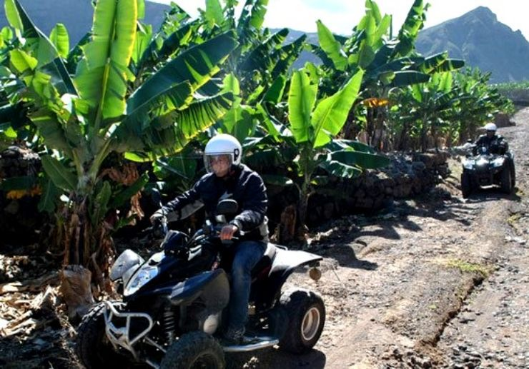 Quad along banana plantation in Tenerife