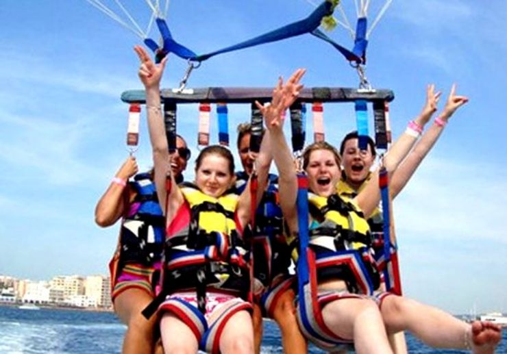Parasailing over Ibiza waters