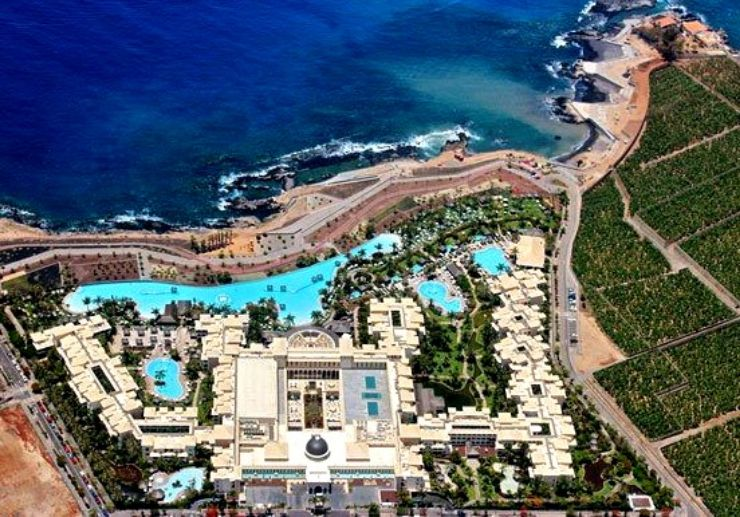 Resort view from helicopter tour Tenerife