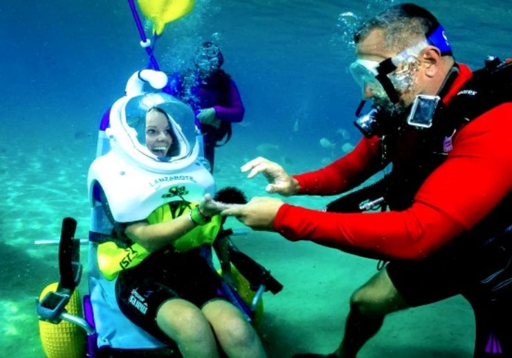 sea trek diving for disabled persons Lanzarote