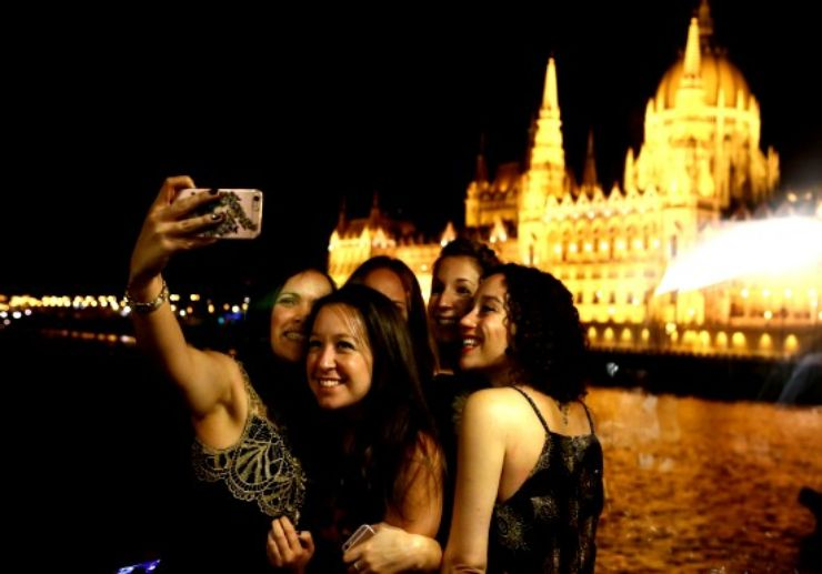 Cruise night view on Danube river