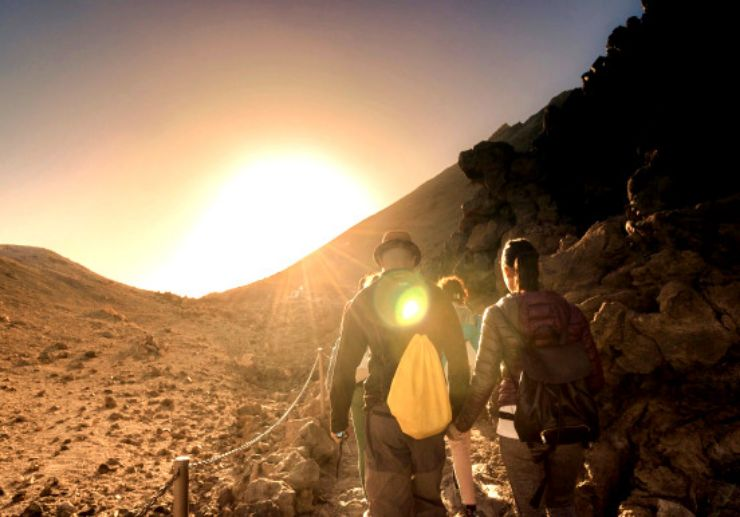 Hiking and sunset view on Teide
