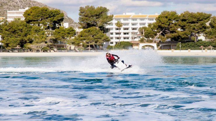 Jet ski along Alcudia Bay in Mallorca